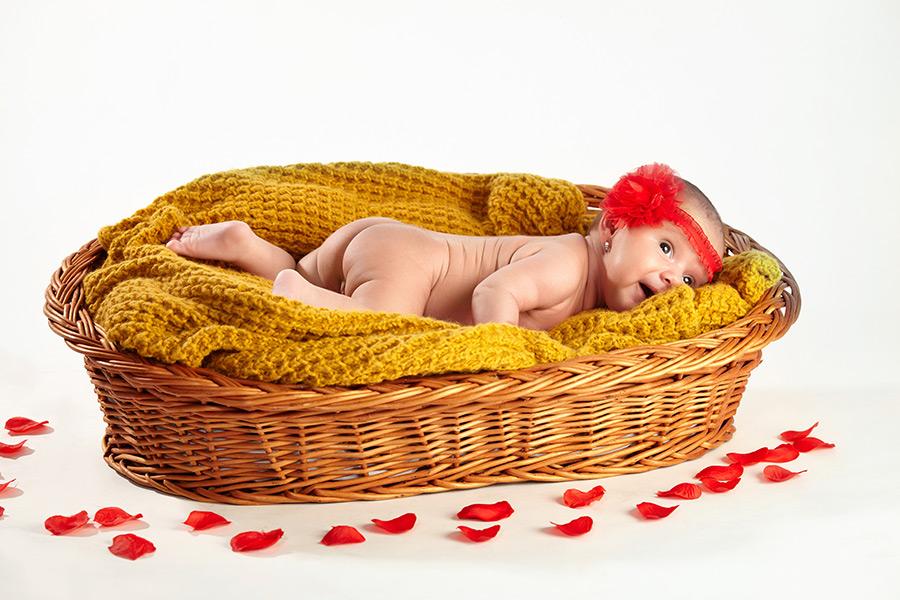 bebelus in cos fotografiat in studio pe fundal alb