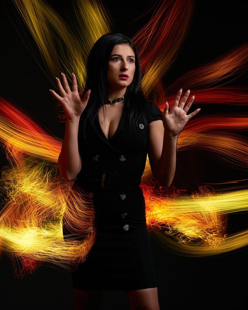 Portret cu foc simulat cu fibra optica