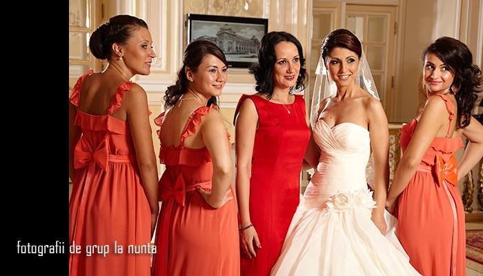 fotografie de grup la nunta - domnisoare de onoare